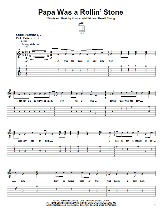 The Temptations Papa Was A Rollin' Stone sheet music preview music notes and score for Easy Piano including 4 page(s)
