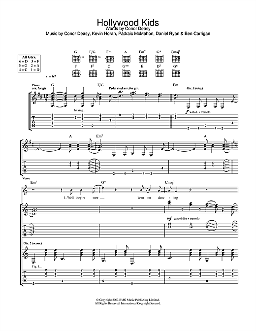 The Thrills Hollywood Kids sheet music notes and chords