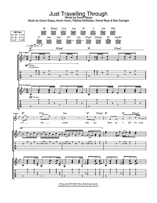 The Thrills Just Travelling Through sheet music notes and chords