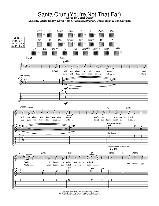 The Thrills Santa Cruz (You're Not That Far) sheet music notes and chords