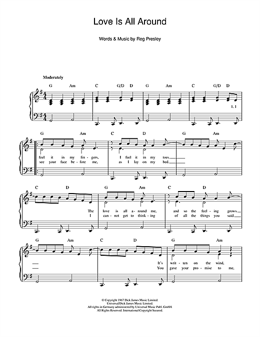Download The Troggs 'Love Is All Around' Digital Sheet Music Notes & Chords and start playing in minutes