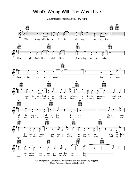 The Twilights What's Wrong With The Way I Live sheet music preview music notes and score for Melody Line, Lyrics & Chords including 2 page(s)