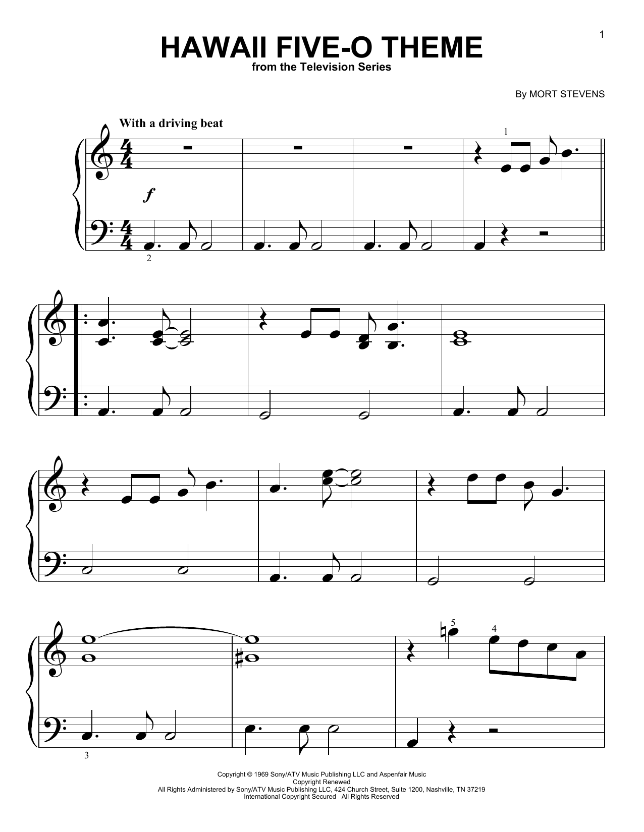 The Ventures Hawaii Five-O Theme sheet music preview music notes and score for Piano (Big Notes) including 3 page(s)