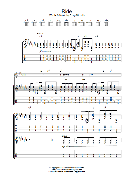 The Vines Ride sheet music preview music notes and score for Guitar Tab including 5 page(s)