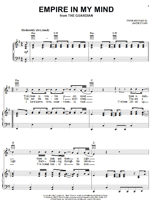 The Wallflowers Empire In My Mind (from The Guardian) sheet music preview music notes and score for Piano, Vocal & Guitar (Right-Hand Melody) including 5 page(s)