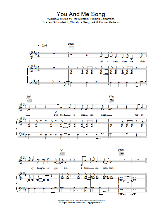The Wannadies You And Me Song sheet music preview music notes and score for Piano, Vocal & Guitar including 5 page(s)