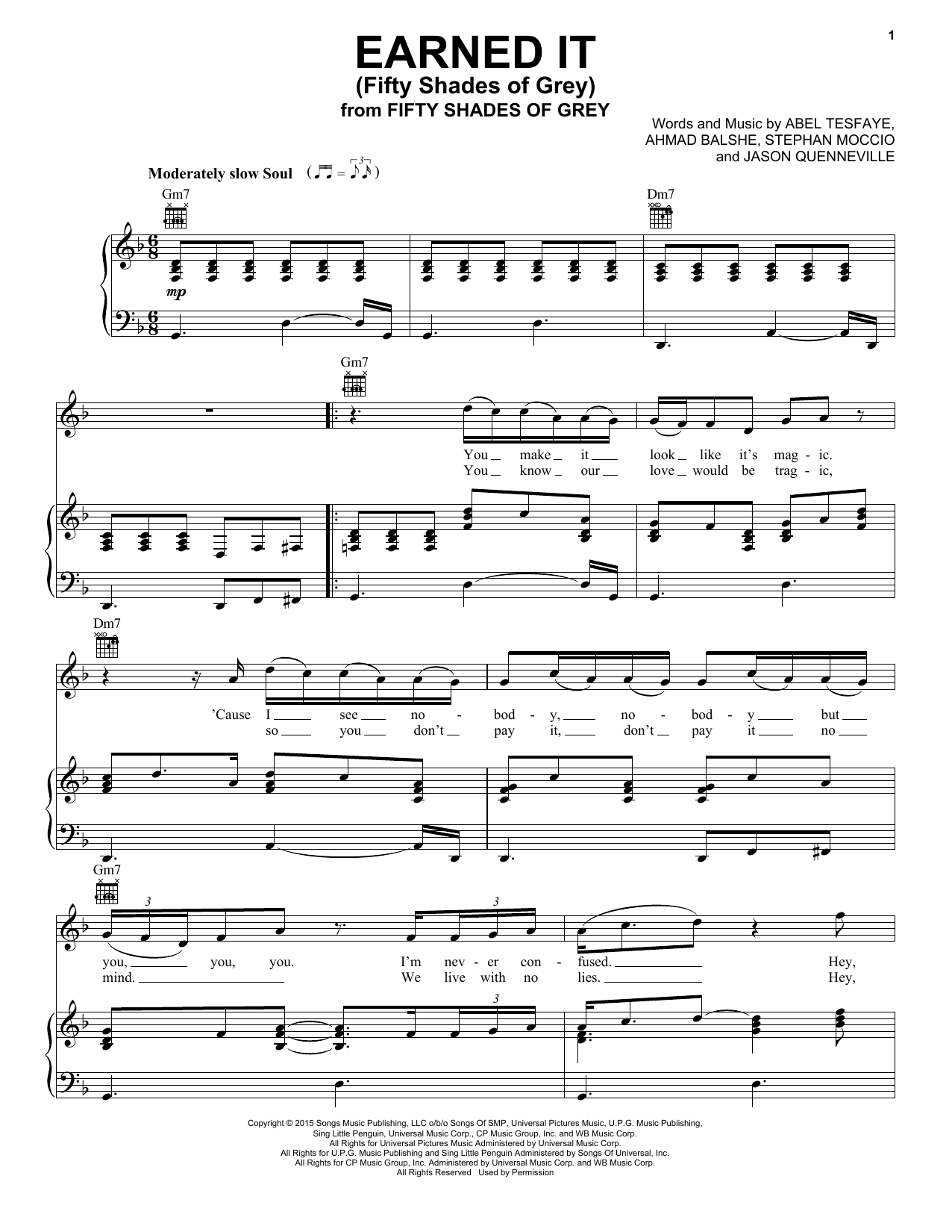 The Weeknd Earned It (Fifty Shades Of Grey) sheet music preview music notes and score for E-Z Play Today including 4 page(s)