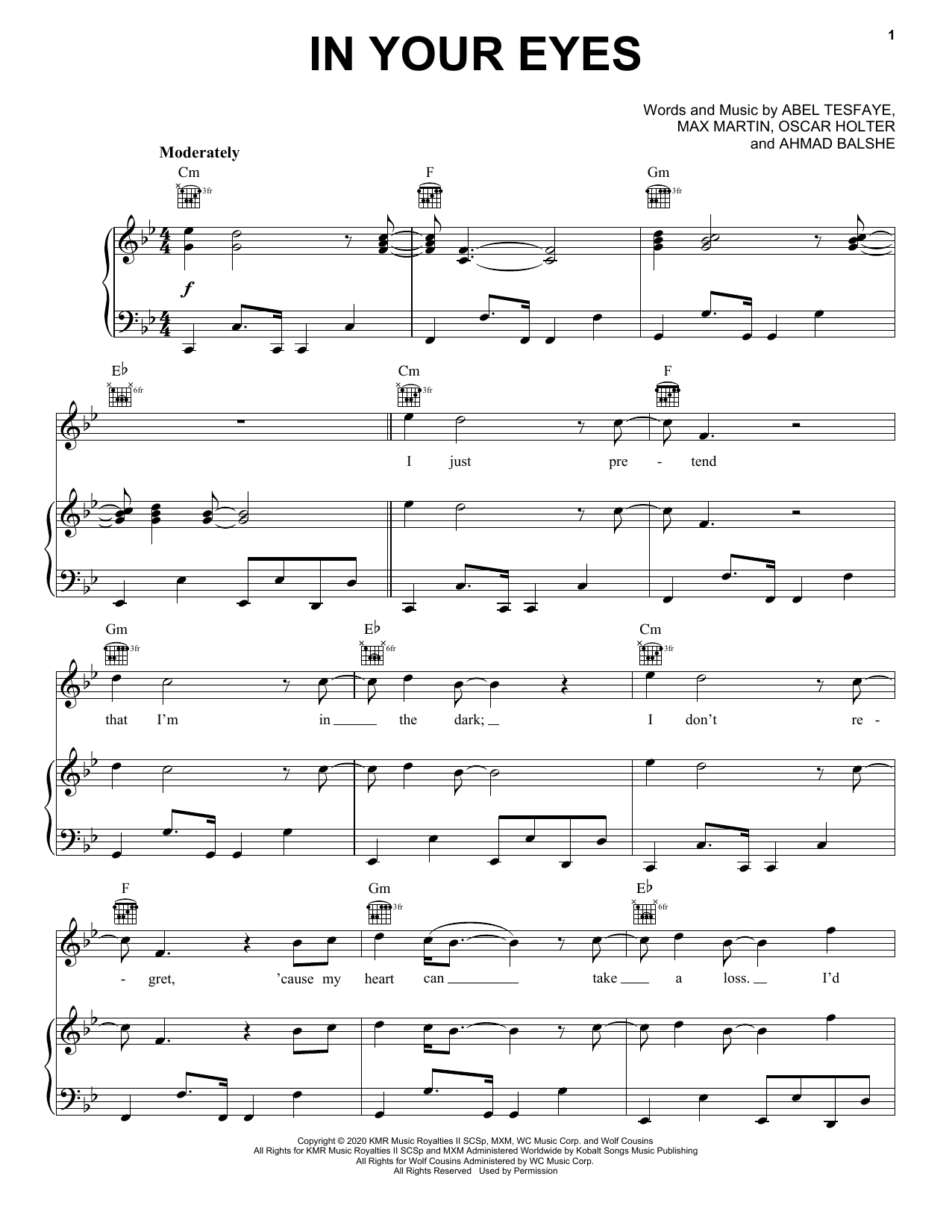 The Weeknd In Your Eyes sheet music notes and chords