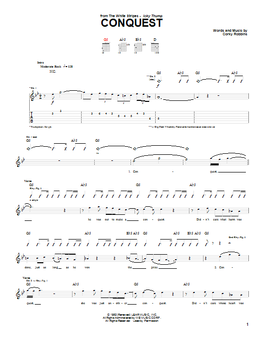 The White Stripes Conquest sheet music preview music notes and score for Guitar Tab including 5 page(s)