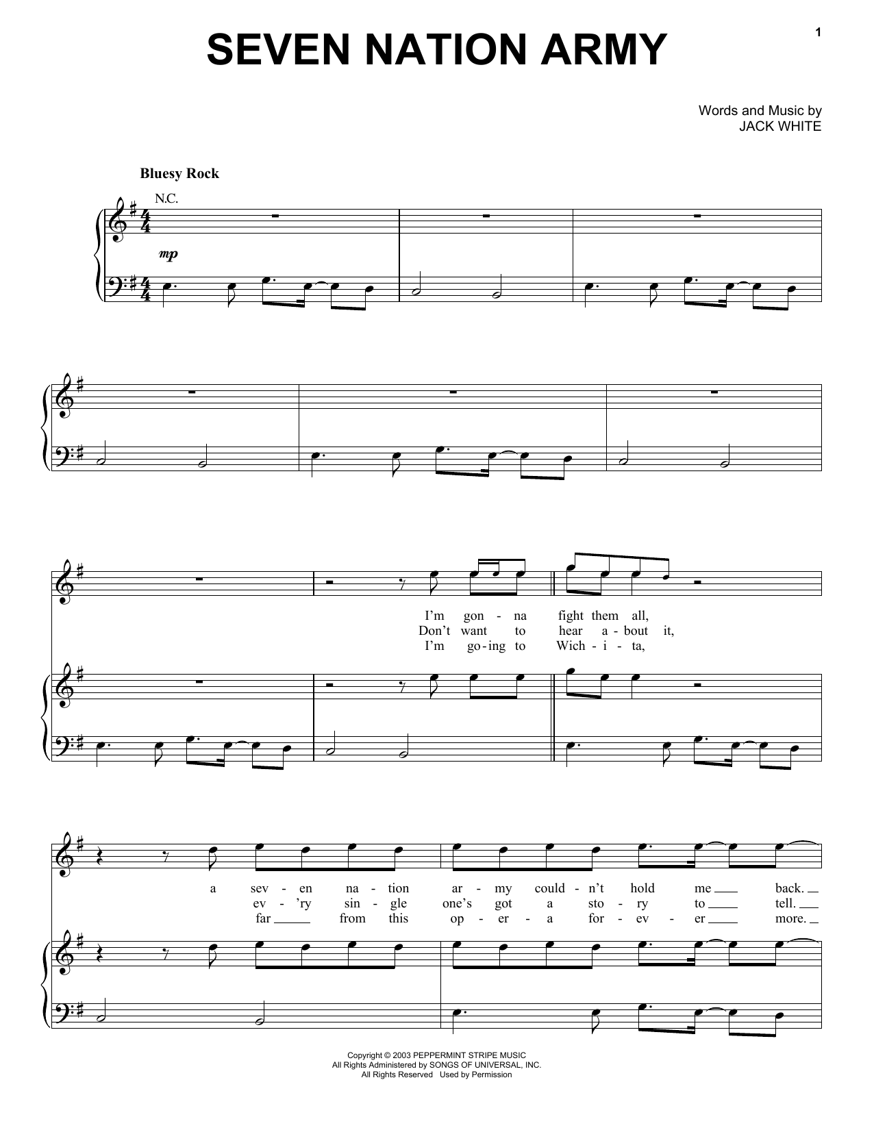 The White Stripes Seven Nation Army sheet music preview music notes and score for Piano, Vocal & Guitar (Right-Hand Melody) including 4 page(s)