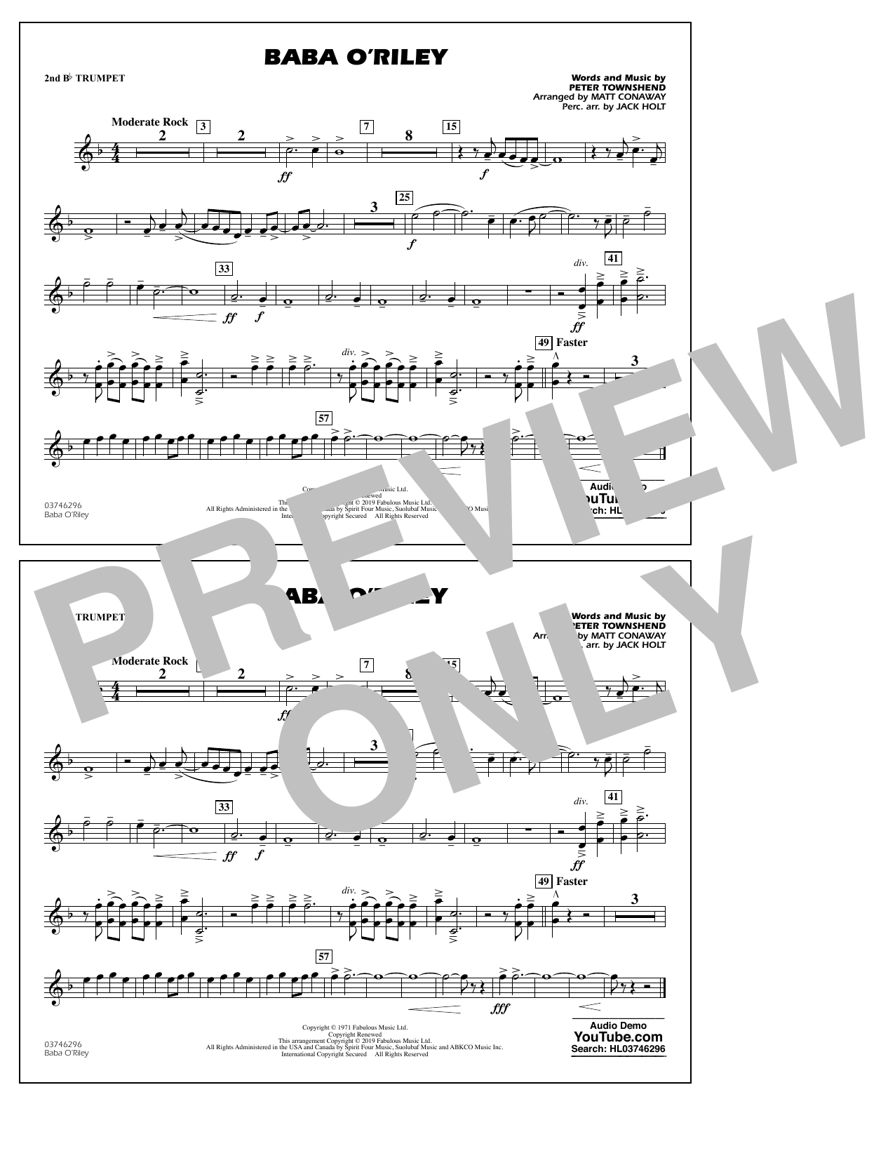 The Who Baba O'Riley (arr. Matt Conaway) - 2nd Bb Trumpet sheet music preview music notes and score for Marching Band including 1 page(s)