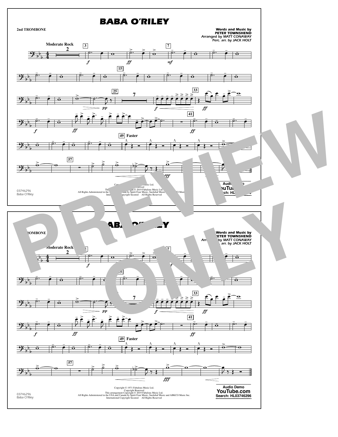 The Who Baba O'Riley (arr. Matt Conaway) - 2nd Trombone sheet music preview music notes and score for Marching Band including 1 page(s)