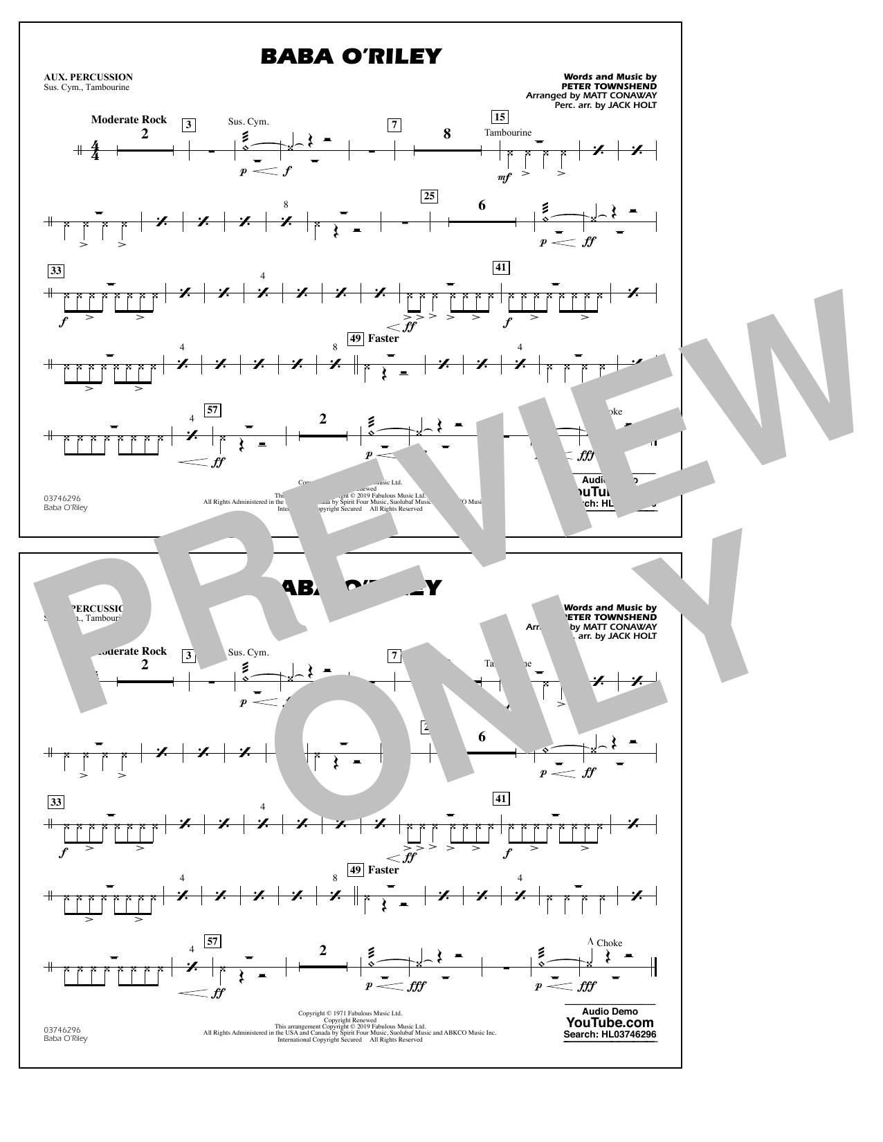 The Who Baba O'Riley (arr. Matt Conaway) - Aux Percussion sheet music preview music notes and score for Marching Band including 1 page(s)
