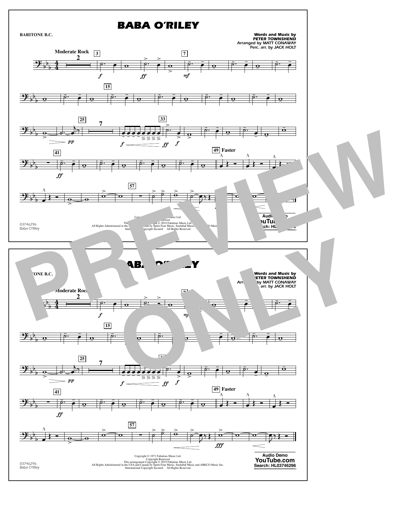 The Who Baba O'Riley (arr. Matt Conaway) - Baritone B.C. sheet music preview music notes and score for Marching Band including 1 page(s)