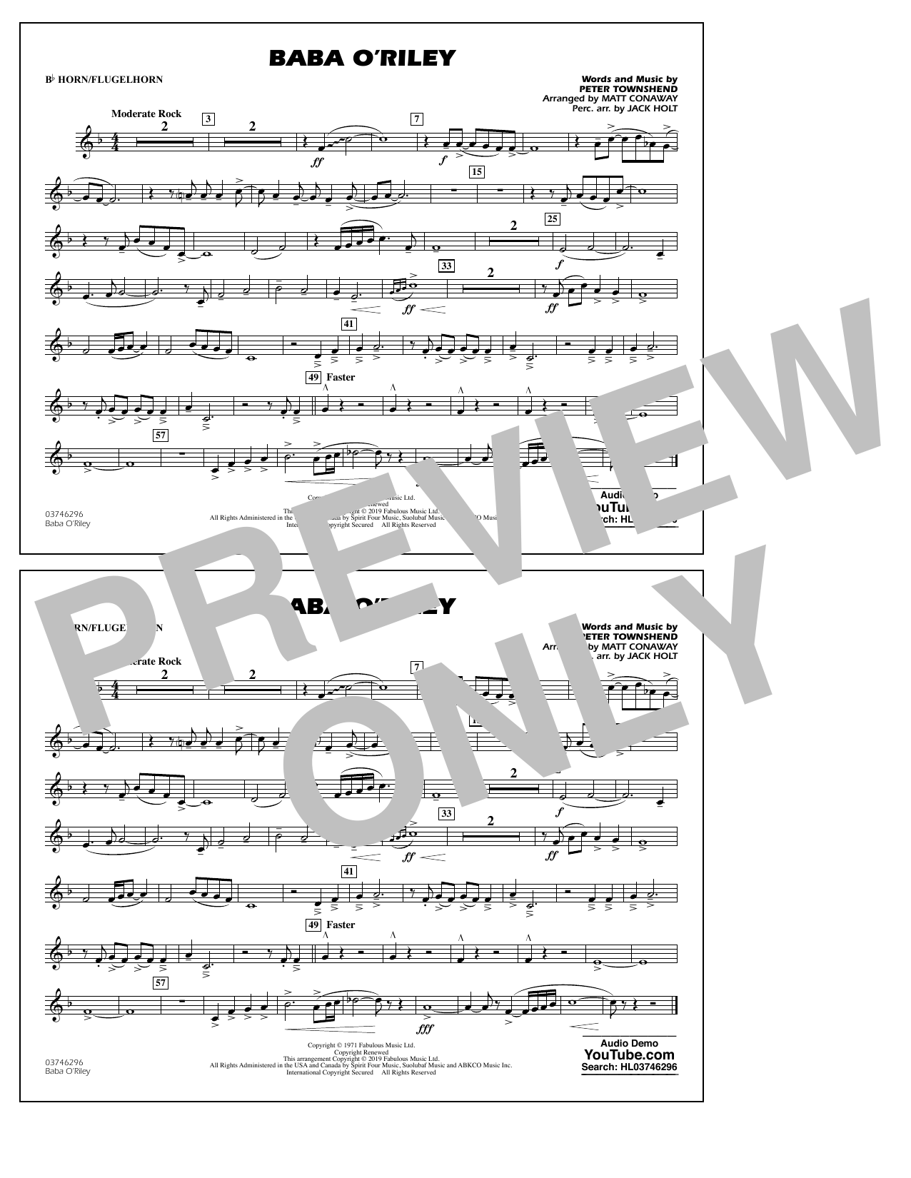 The Who Baba O'Riley (arr. Matt Conaway) - Bb Horn/Flugelhorn sheet music preview music notes and score for Marching Band including 1 page(s)