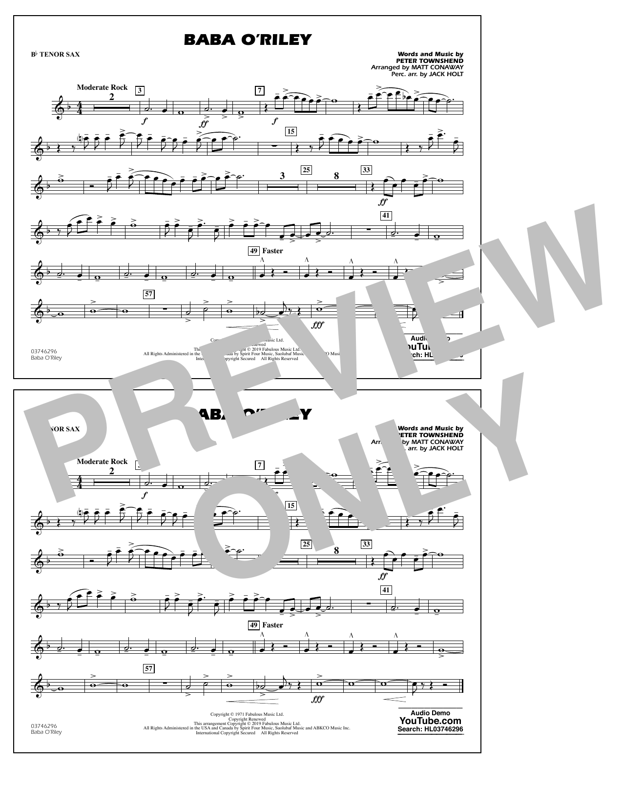The Who Baba O'Riley (arr. Matt Conaway) - Bb Tenor Sax sheet music preview music notes and score for Marching Band including 1 page(s)