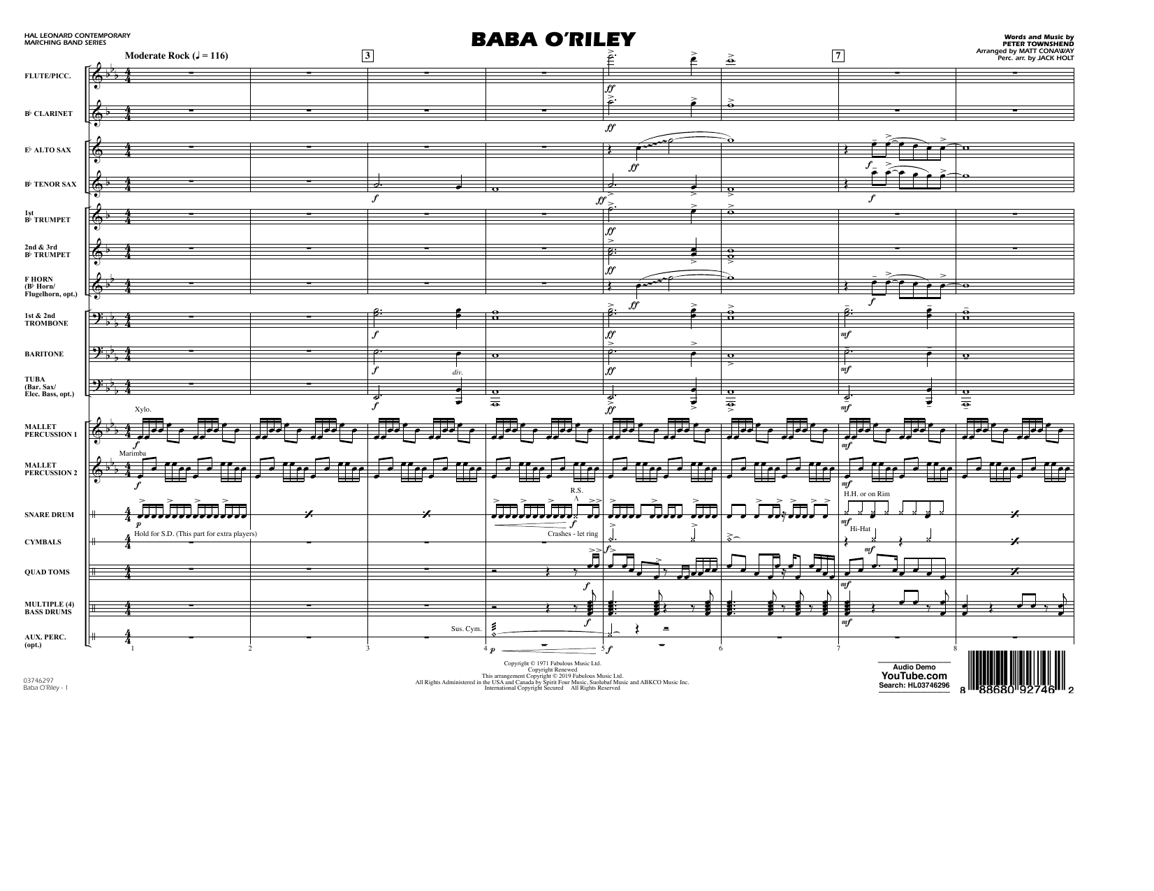 The Who Baba O'Riley (arr. Matt Conaway) - Conductor Score (Full Score) sheet music preview music notes and score for Marching Band including 8 page(s)