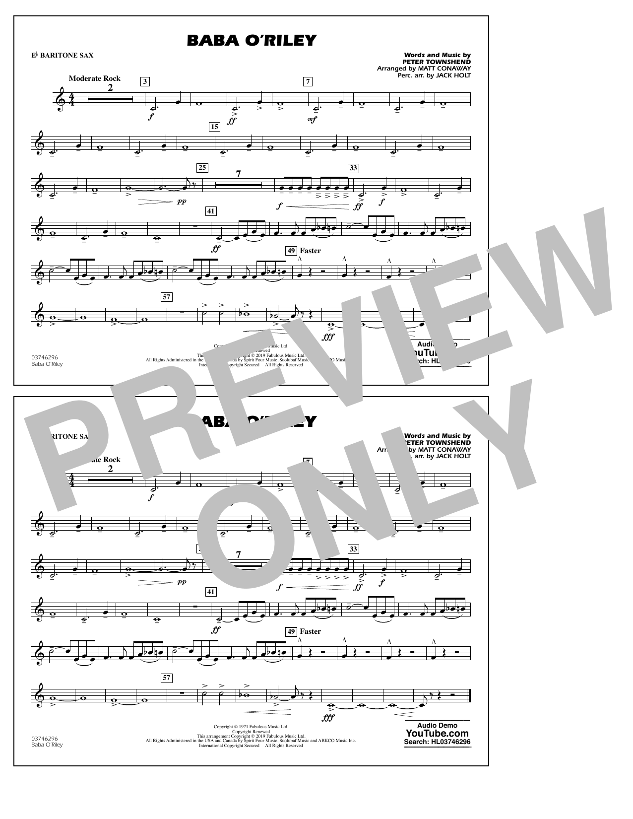 The Who Baba O'Riley (arr. Matt Conaway) - Eb Baritone Sax sheet music preview music notes and score for Marching Band including 1 page(s)