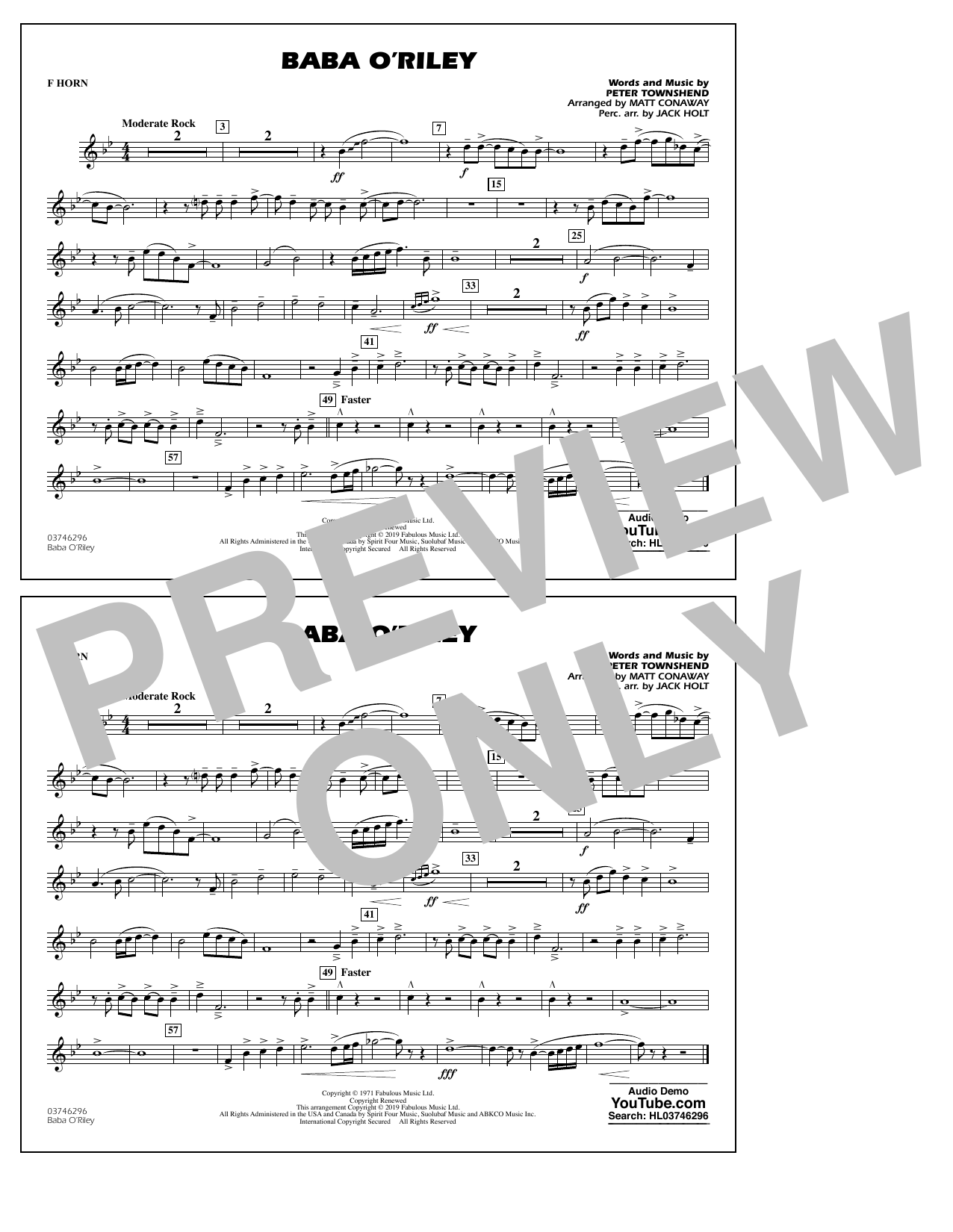 The Who Baba O'Riley (arr. Matt Conaway) - F Horn sheet music preview music notes and score for Marching Band including 1 page(s)
