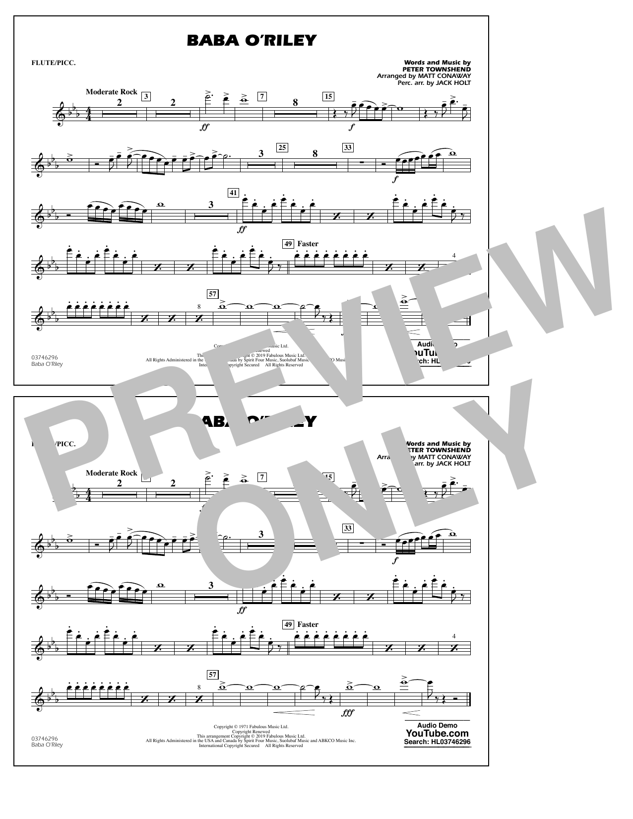 The Who Baba O'Riley (arr. Matt Conaway) - Flute/Piccolo sheet music preview music notes and score for Marching Band including 1 page(s)