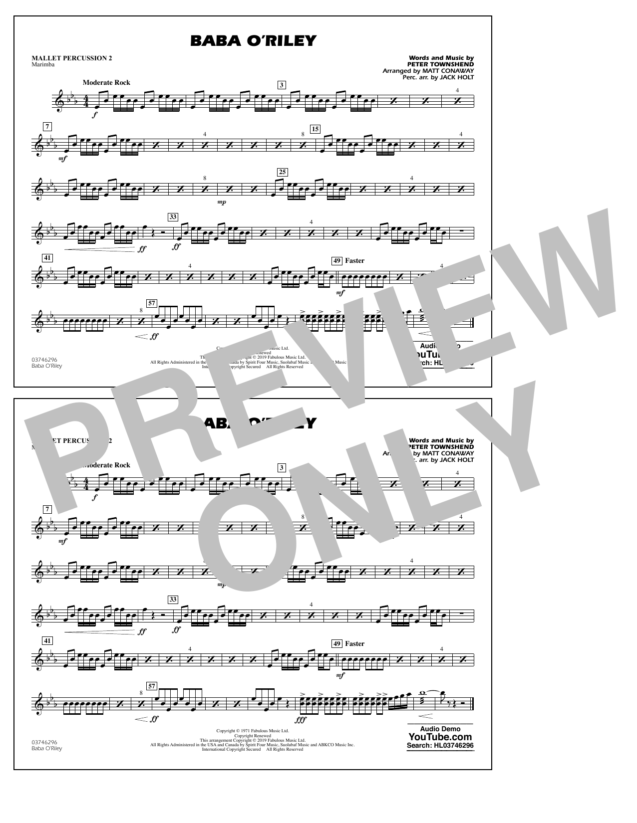 The Who Baba O'Riley (arr. Matt Conaway) - Mallet Percussion 2 sheet music preview music notes and score for Marching Band including 1 page(s)