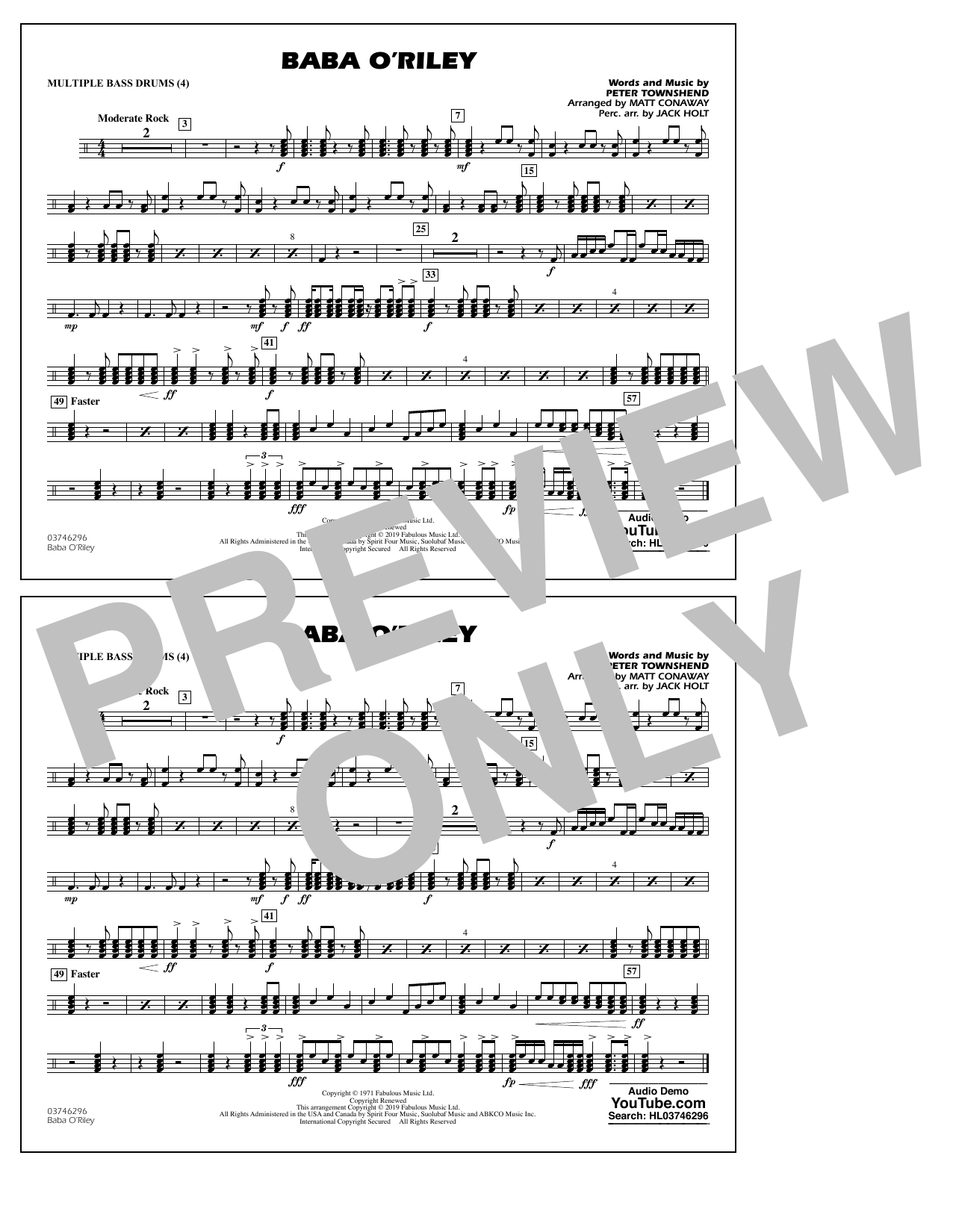 The Who Baba O'Riley (arr. Matt Conaway) - Multiple Bass Drums sheet music preview music notes and score for Marching Band including 1 page(s)