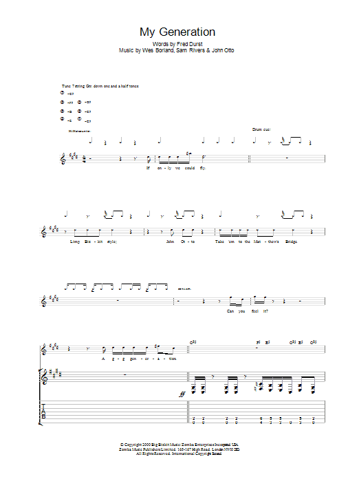 The Who My Generation sheet music preview music notes and score for Easy Guitar including 2 page(s)