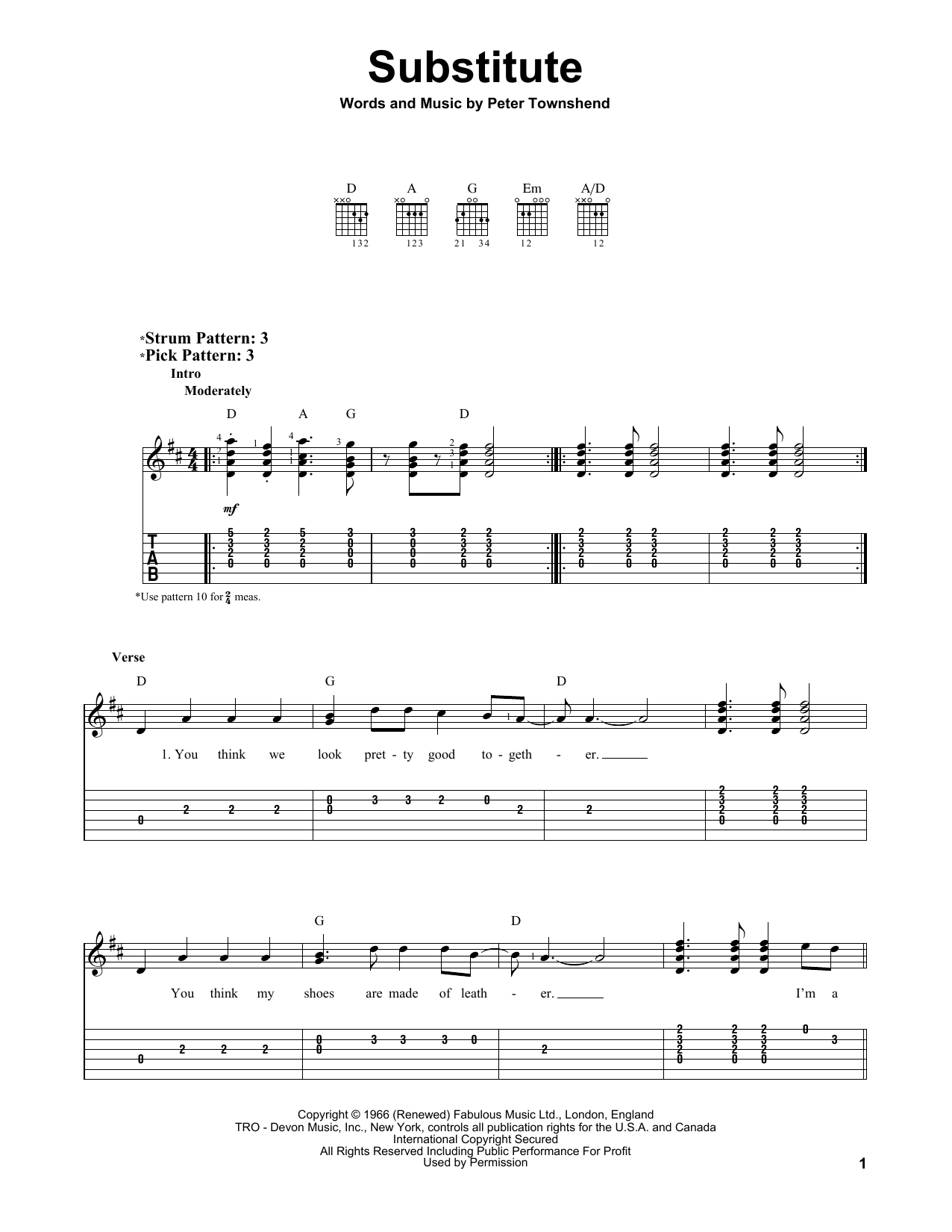 The Who Substitute sheet music preview music notes and score for Guitar Tab including 3 page(s)