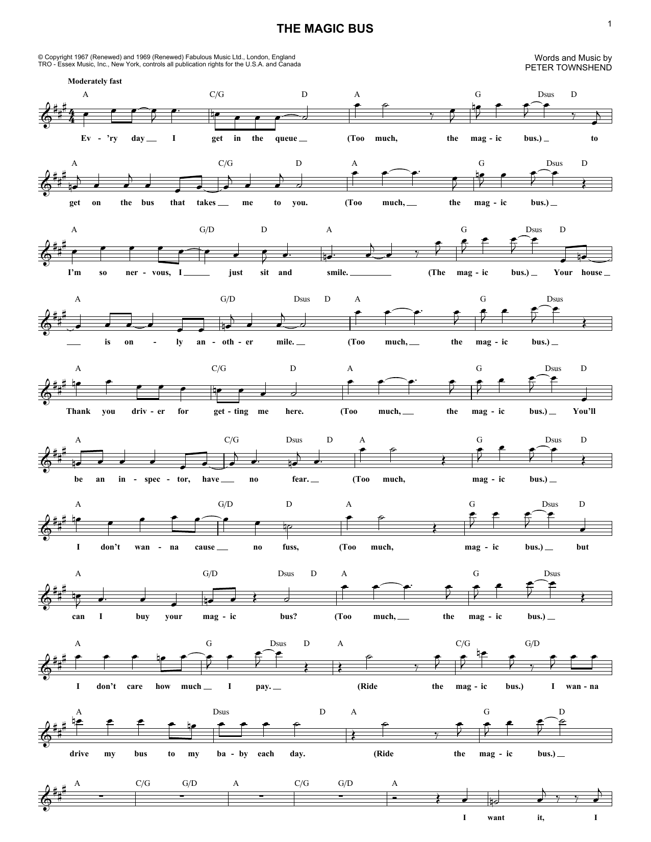 The Who The Magic Bus sheet music preview music notes and score for Lyrics & Piano Chords including 3 page(s)