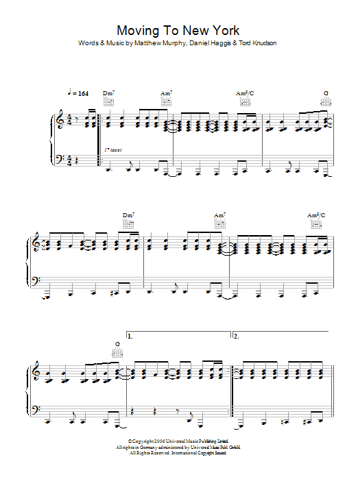 The Wombats Moving To New York sheet music preview music notes and score for Piano, Vocal & Guitar including 6 page(s)
