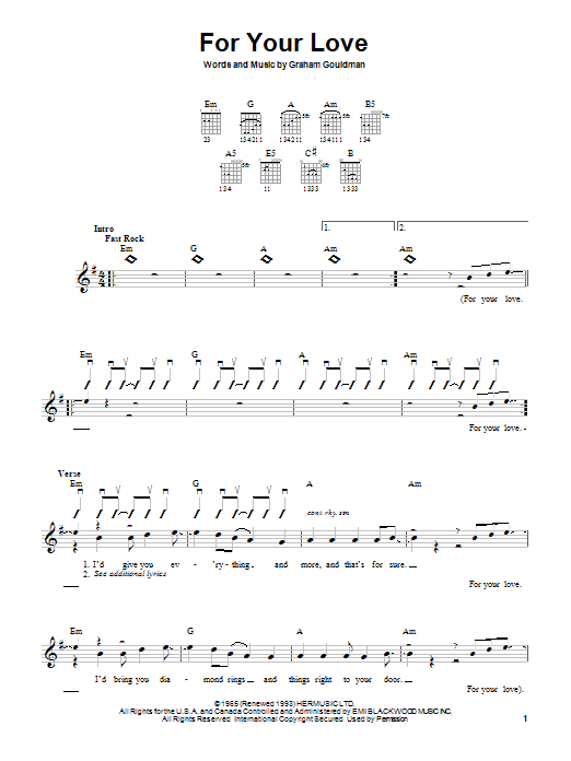 The Yardbirds (with Eric Clapton) For Your Love sheet music notes and chords