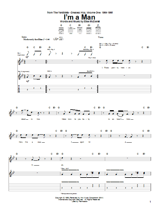 The Yardbirds I'm A Man sheet music notes and chords