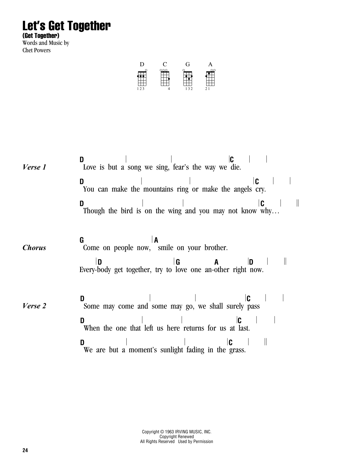 The Youngbloods Let's Get Together (Get Together) sheet music preview music notes and score for E-Z Play Today including 3 page(s)