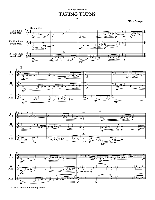 Download Thea Musgrave 'Taking Turns for Flute Trio (full score)' Digital Sheet Music Notes & Chords and start playing in minutes