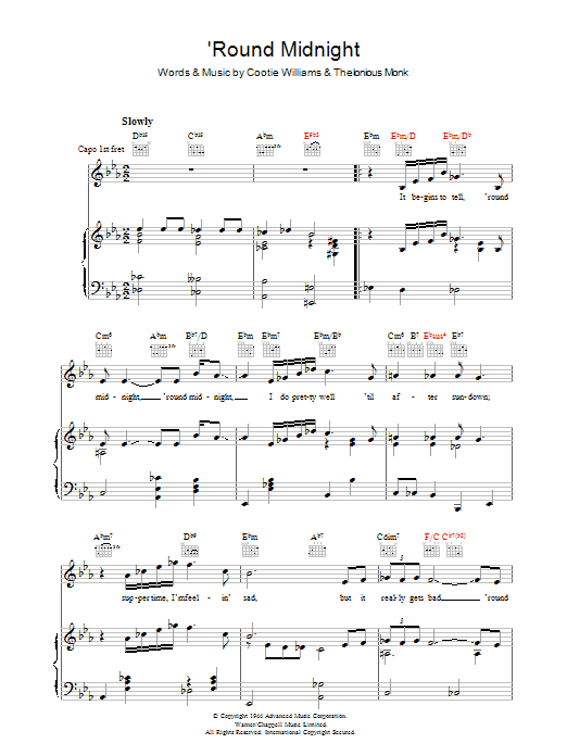 Thelonious Monk 'Round Midnight sheet music preview music notes and score for Piano, Vocal & Guitar (Right-Hand Melody) including 4 page(s)