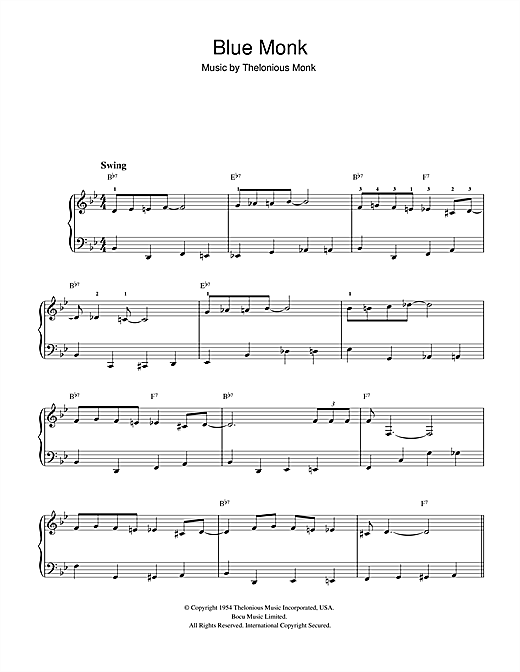 Download Thelonious Monk 'Blue Monk' Digital Sheet Music Notes & Chords and start playing in minutes