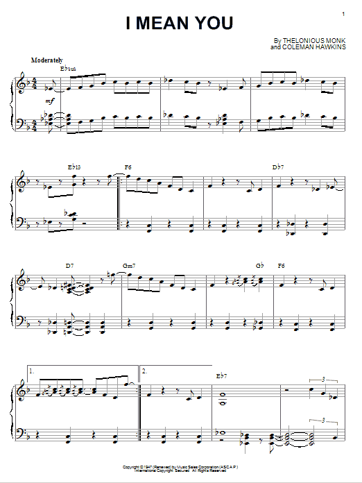 Thelonious Monk I Mean You sheet music notes and chords