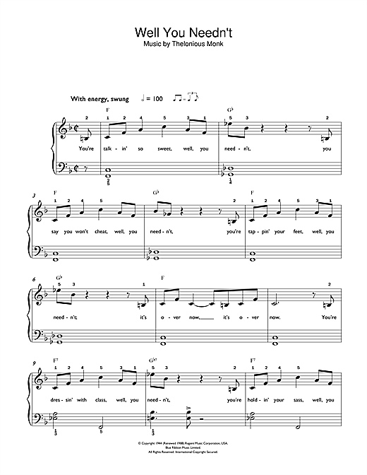 Thelonious Monk Well You Needn't (It's Over Now) sheet music preview music notes and score for Beginner Piano including 3 page(s)