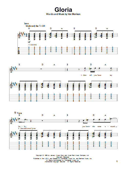 Them Gloria sheet music preview music notes and score for Lyrics & Chords including 2 page(s)