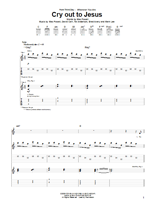 Third Day Cry Out To Jesus sheet music notes and chords
