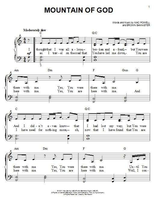 Third Day Mountain of God sheet music notes and chords