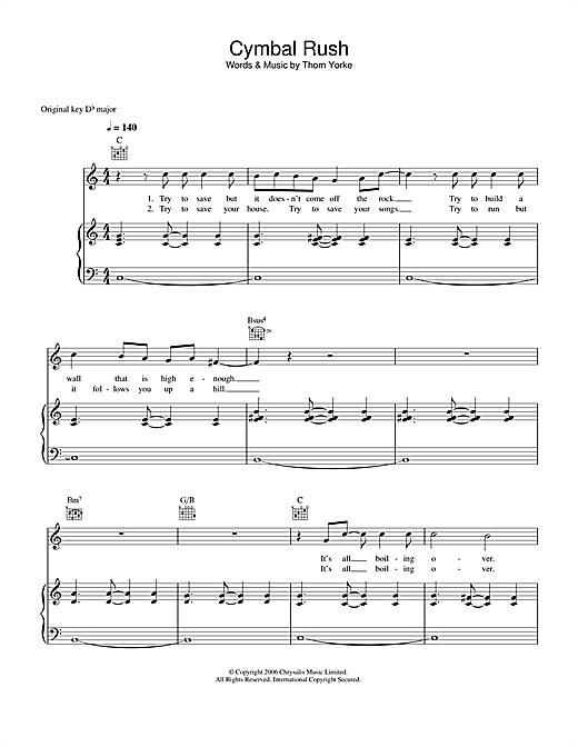 Thom Yorke Cymbal Rush sheet music notes and chords
