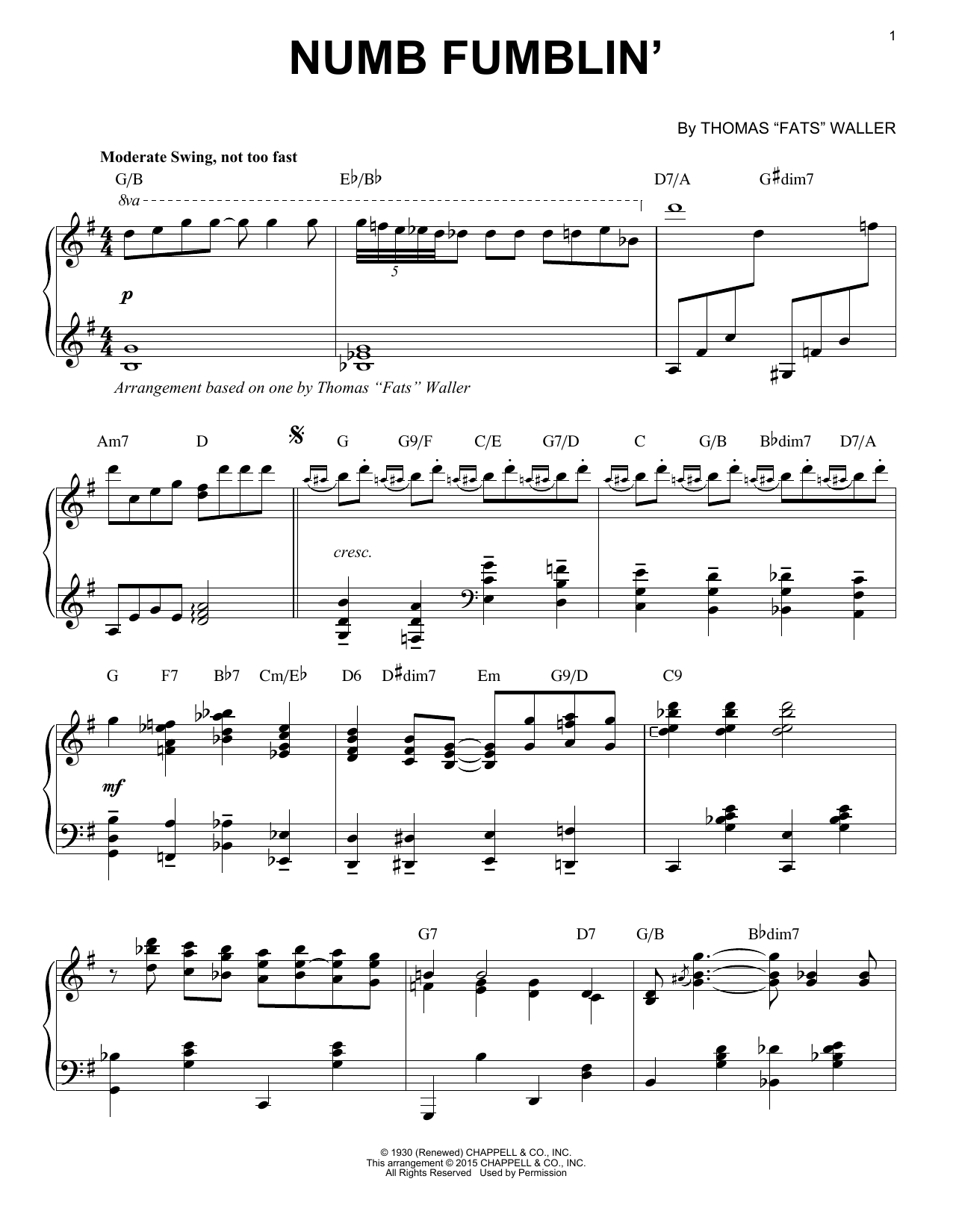 Download Fats Waller 'Numb Fumblin'' Digital Sheet Music Notes & Chords and start playing in minutes