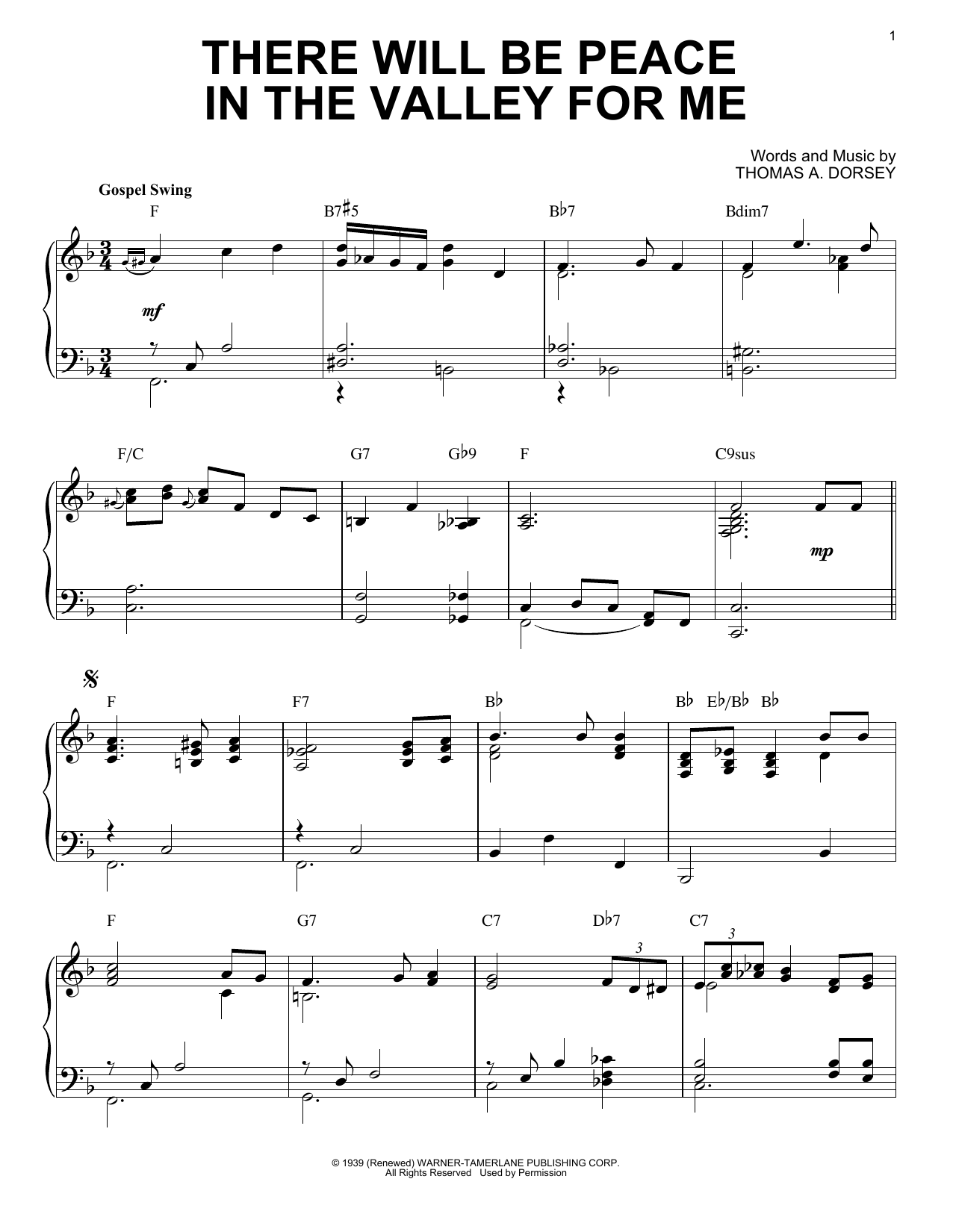 Download Elvis Presley 'There Will Be Peace In The Valley For Me' Digital Sheet Music Notes & Chords and start playing in minutes