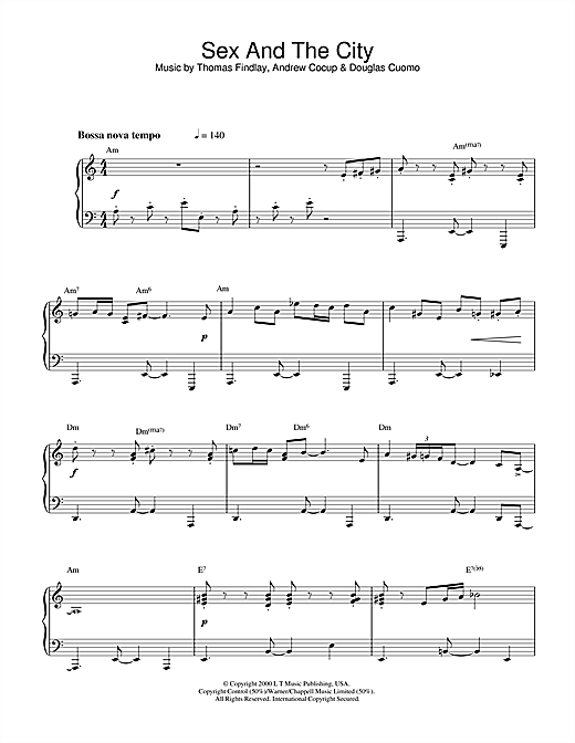 Download Thomas Findlay 'Theme from Sex And The City' Digital Sheet Music Notes & Chords and start playing in minutes