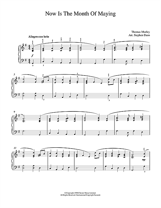 Thomas Morley Now Is The Month Of Maying sheet music notes and chords