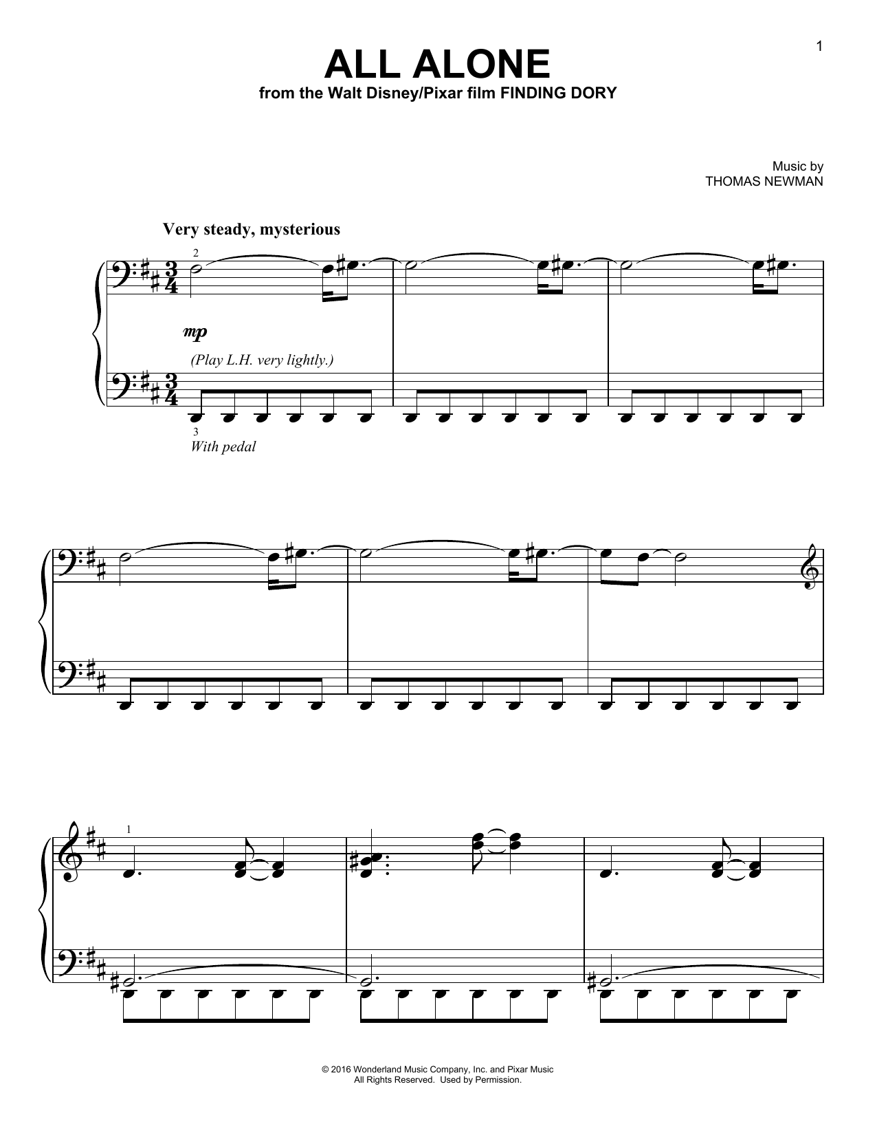 Download Thomas Newman 'All Alone' Digital Sheet Music Notes & Chords and start playing in minutes