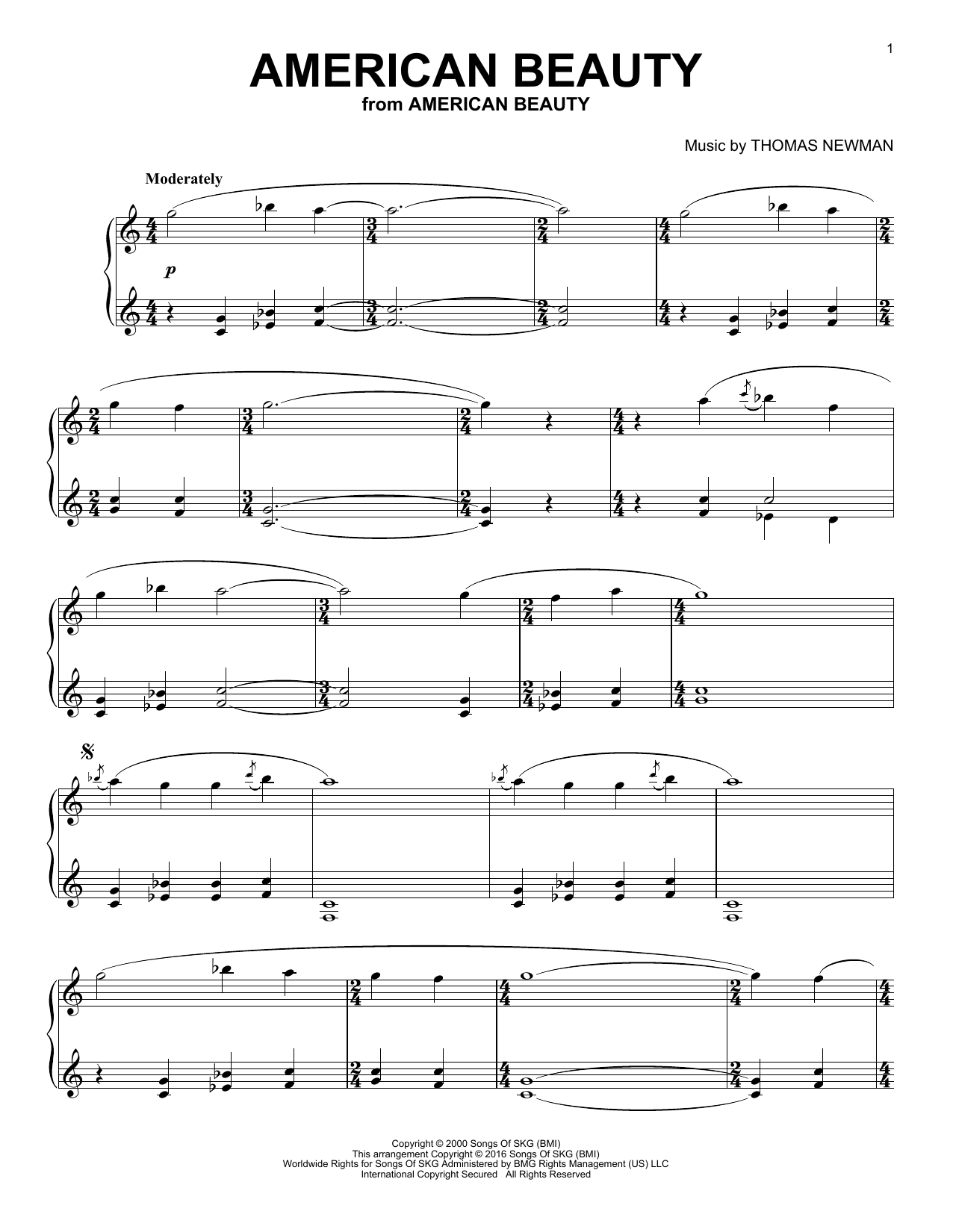 Download Thomas Newman 'American Beauty' Digital Sheet Music Notes & Chords and start playing in minutes