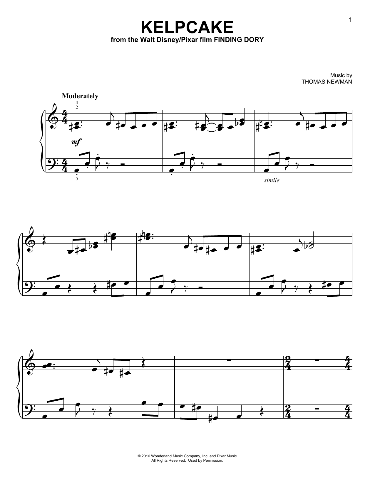 Download Thomas Newman 'Kelpcake' Digital Sheet Music Notes & Chords and start playing in minutes