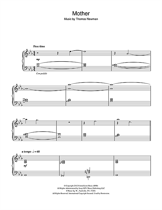 Download Thomas Newman 'Mother (from James Bond Skyfall)' Digital Sheet Music Notes & Chords and start playing in minutes